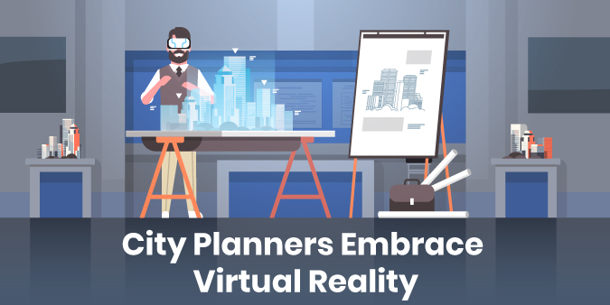 An illustration of a city planner utilizing Virtual Reality technology