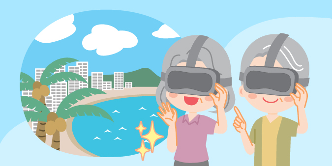 An illustration of two senior citizens using VR to go on vacation